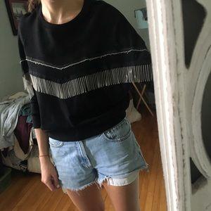 Black sweater with metal fringe detail